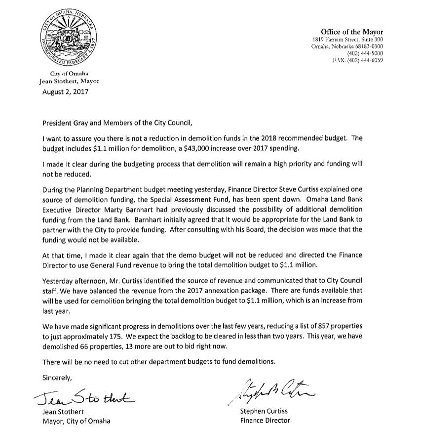 This is a copy of the letter the mayor and finance director sent to the Council Wednesday regarding the demolition budget.