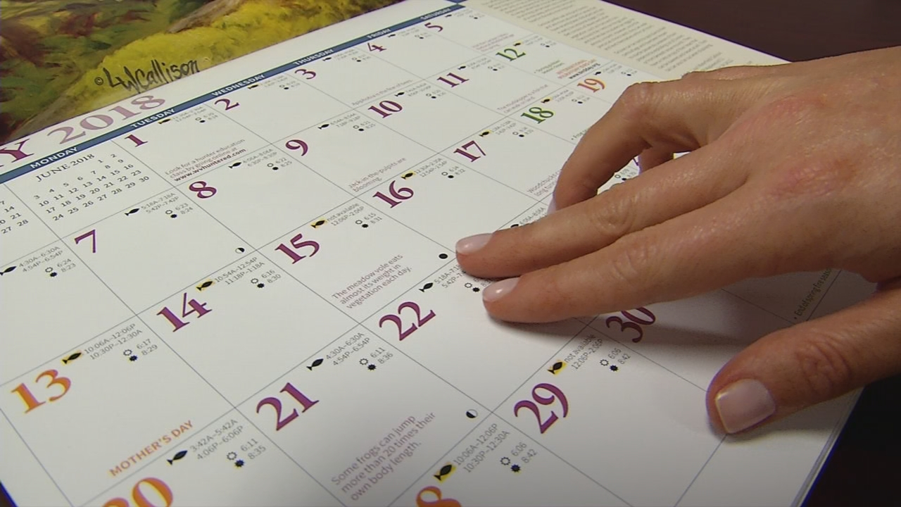 The calendar features many daily facts, like moon phases and best fishing times. (WCHS/WVAH)<p></p>
