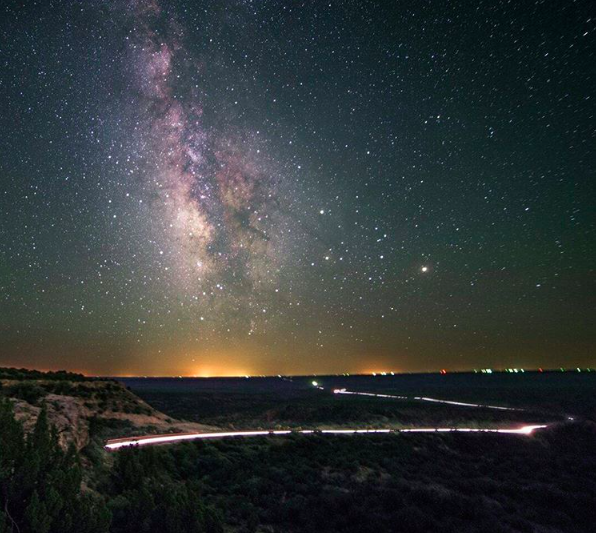 IMAGE: IG user @disasterfilm / POST: Hard finding enough traffic in West Texas at 4am on a Sunday for this shot to work, but there it was. Patiently. /react-text ??react-text: 761 For the curious - that's about 6 minutes of travel time for the headlights to cross the valley. They started at the giant road cut from my last astro shot.