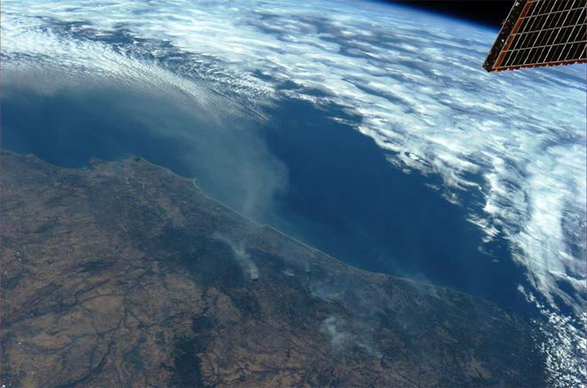 Forest fires in Portugal (Photo & Caption: Karen Nyberg, NASA)