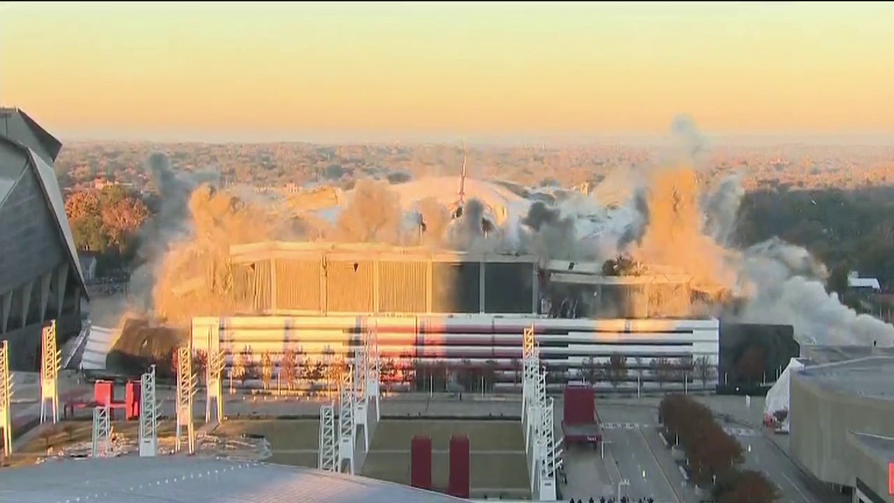 The Georgia Dome was imploded on Monday Nov. 20, 2017. (CNN Newsource)<p></p>