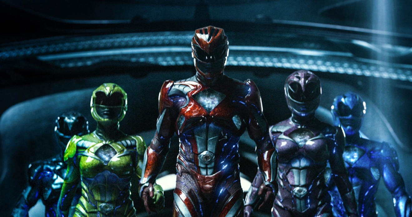 "From left to right: Zack the Black Ranger (Ludi Lin), Trini the Yellow Ranger (Becky G), Jason the Red Ranger (Dacre Montgomery), Kimberly the Pink Ranger (Naomi Scott) and Billy the Blue Ranger (RJ Cyler) in ""Power Rangers."" Image courtesy of Lionsgate"