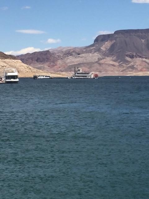 "The large paddle wheeler boat ""Desert Princess"" lost power on Lake Mead, leaving 168 passengers drifting on the lake. 4/18/17 (Jeff Gillan 