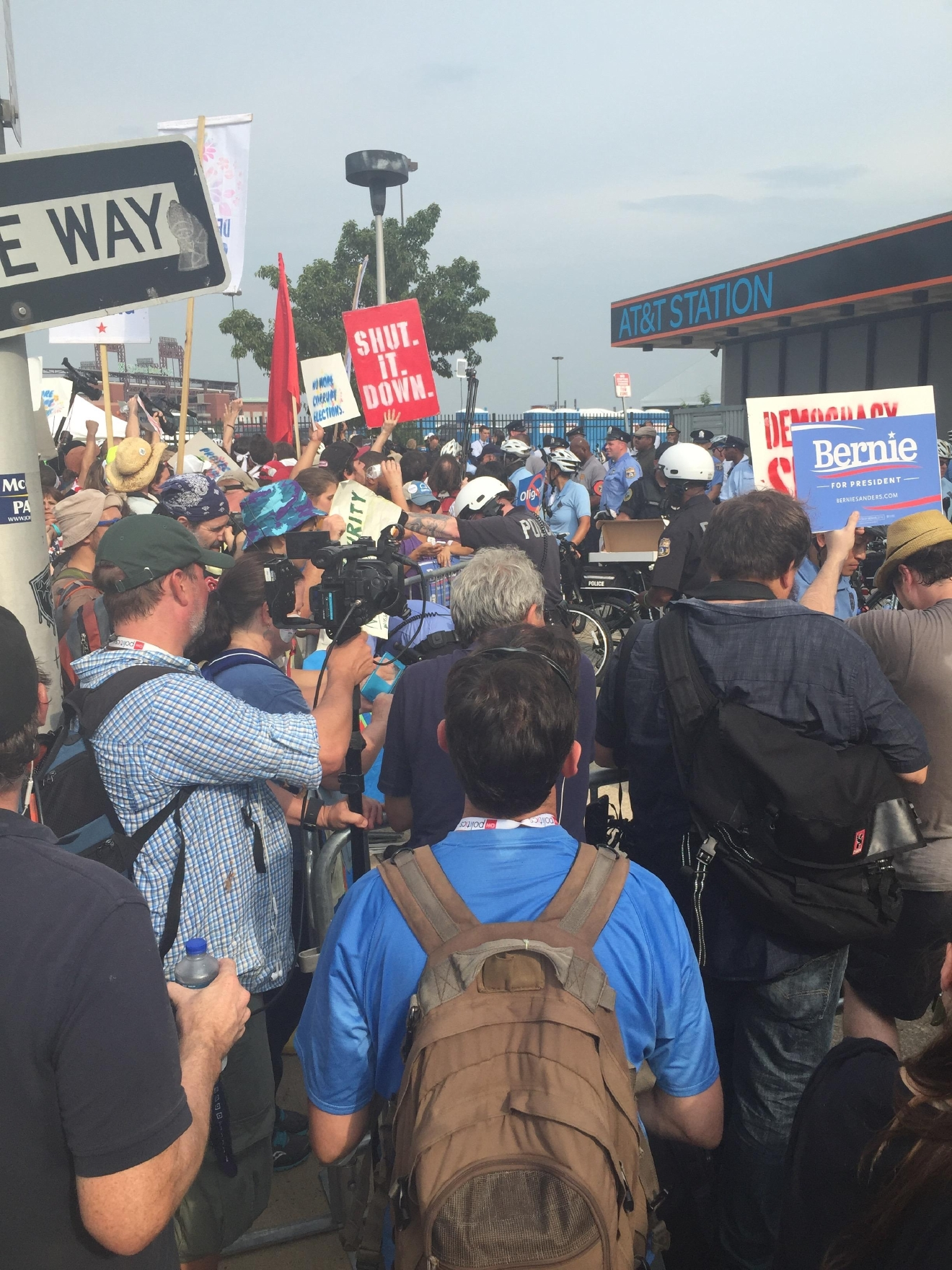 Protests outside of the Democratic National Convention. (Amanda Ota, Sinclair Broadcast Group)