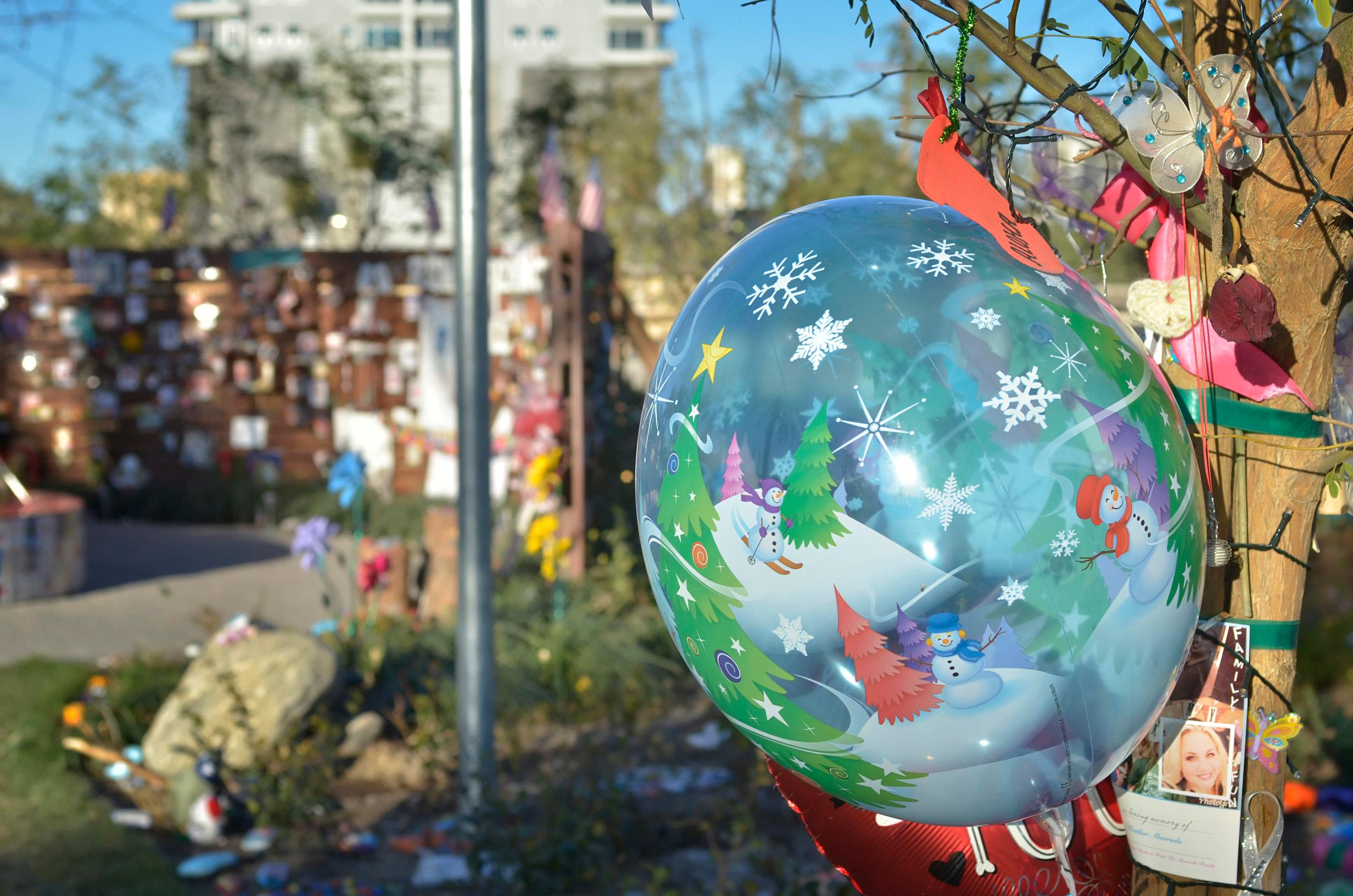 A Christmas decoration is shown at the Remembrance Wall in the Community Healing Garden at 1015 S. Casino Center Blvd. in Las Vegas on Tuesday, Dec. 12, 2017. CREDIT: Bill Hughes/Las Vegas News Bureau