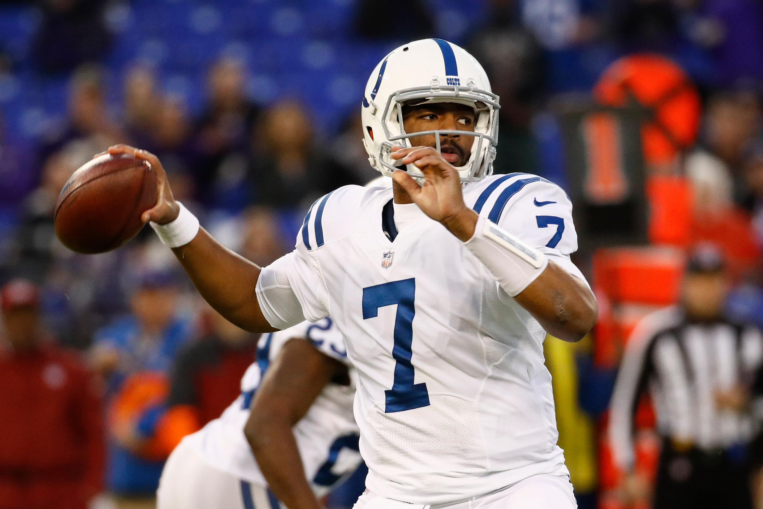 Indianapolis Colts quarterback Jacoby Brissett (7) passes the ball during the first half of an NFL football game against Baltimore Ravens in Baltimore, Saturday, Dec 23, 2017. (AP Photo/Patrick Semansky)