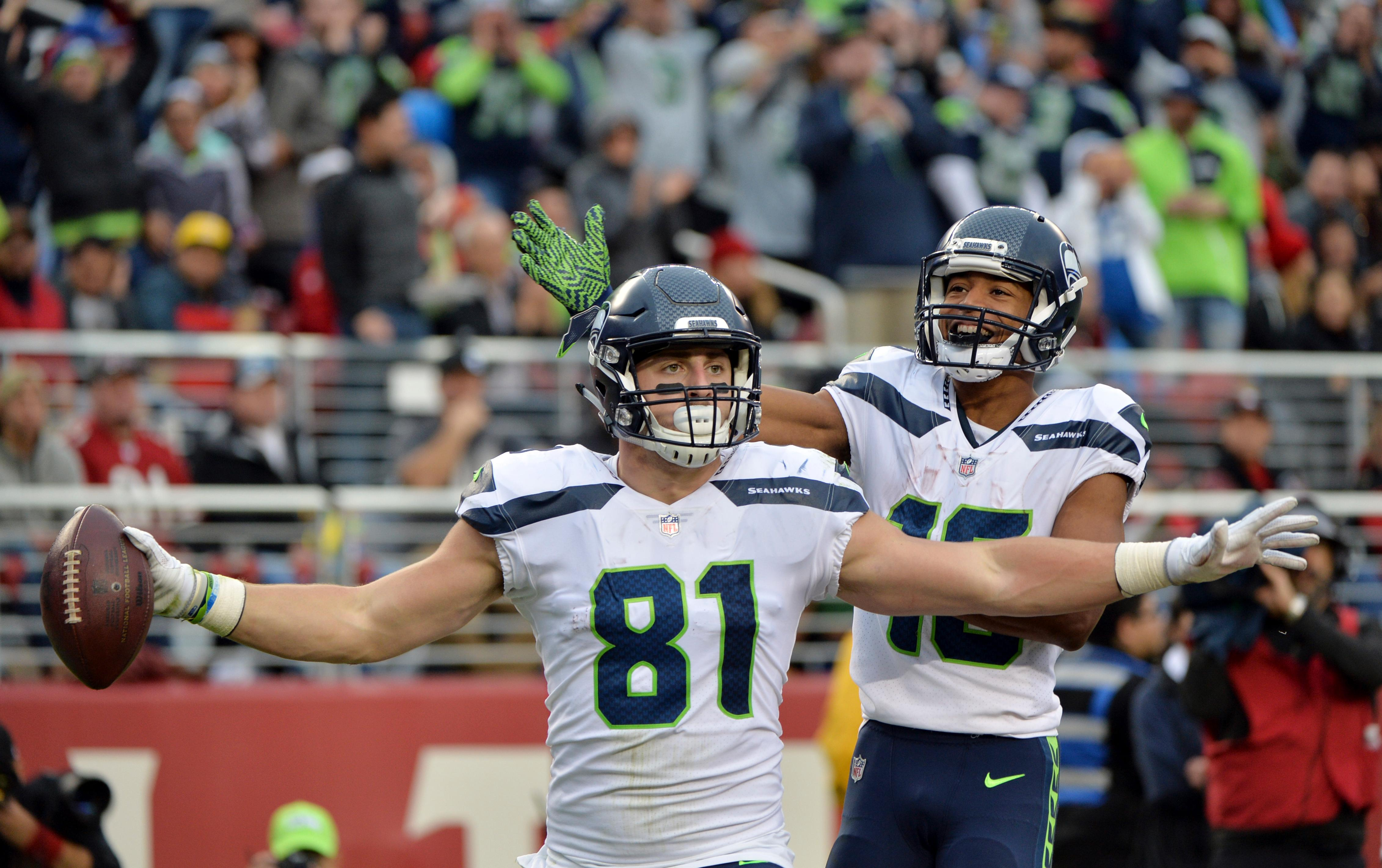 Seattle Seahawks tight end Nick Vannett emerged last week against the 49ers. (AP file photo)<p></p>