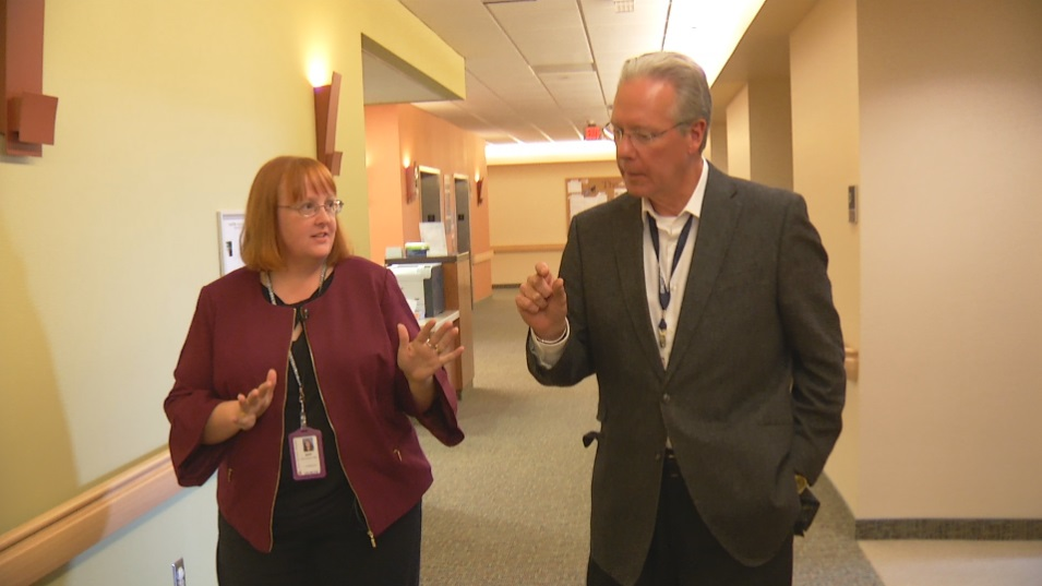 Amy McDaniel, CEO of Iowa Specialty Hospital-Belmond, discussing the facility's expansion with CBS2/FOX28 News Anchor Scott Sanborn.<p></p>