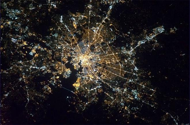 Baltimore, Maryland, bright and clear. The major landmarks of the city all shining up through the night. (Photo & Caption: Chris Hadfield/NASA)