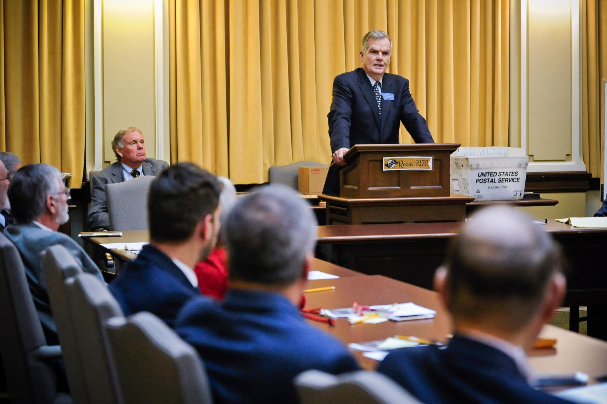 FILE - In this Nov. 14, 2018 file photo Senate President Scott Sales, R-Bozeman, addresses the Senate Republican caucus at the State Capitol in Helena, Mont. (Thom Bridge/Independent Record via AP, File)