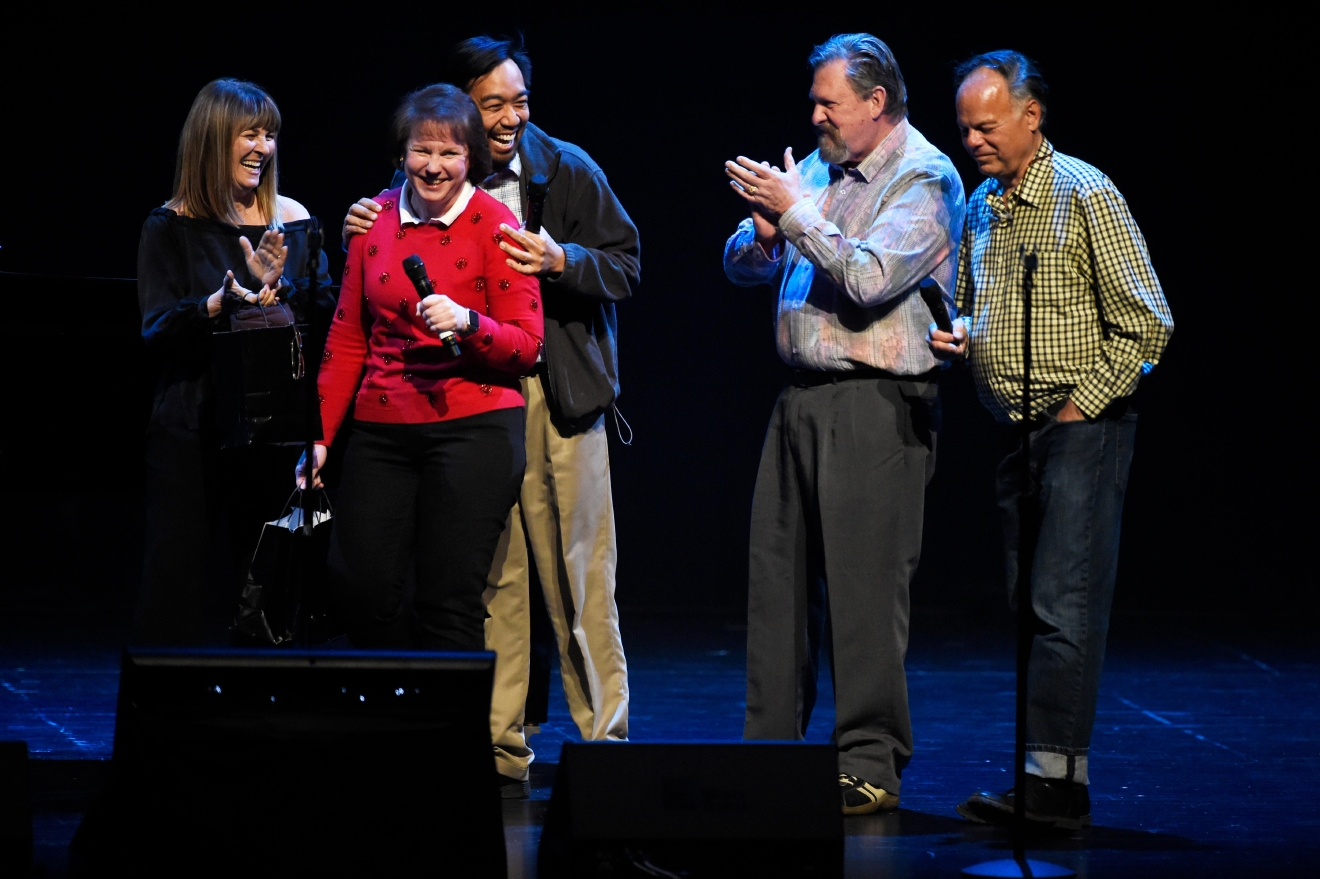 "Audience members laugh after being brought on stage to take part in a ""Name That Tune"" competition during a preview for the Smith Center for the Performing Arts 2017-2018 Broadway series preview Tuesday, Feb. 28, 2017, in Reynolds Hall. (Sam Morris/Las Vegas News Bureau)"