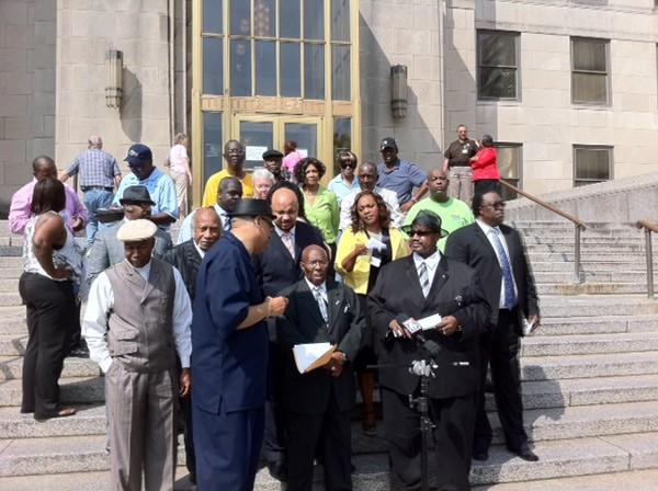 Bishop Calvin woods and others calling for protest for Cooper Green Mercy on steps of courthouse 8-8-12