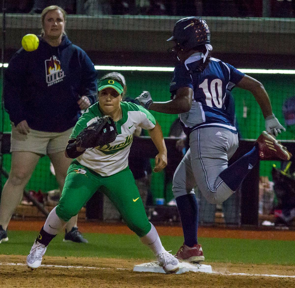 Tiana Mack-Miller (#10) crosses first base for UIC's first hit of the night. The No. 3 Oregon Ducks defeated the University of Illinois Chicago Flames 13-0 with the run-rule on Saturday night at Jane Sanders Stadium. The Ducks scored in every inning and then scored nine runs at the bottom of the fourth. The Oregon Ducks are now 22-0 in NCAA regional games. The Oregon Ducks play Wisconsin next on Saturday, May 20 at 2pm at Jane Sanders Stadium. Photo by Aaron Alter, Oregon News Lab