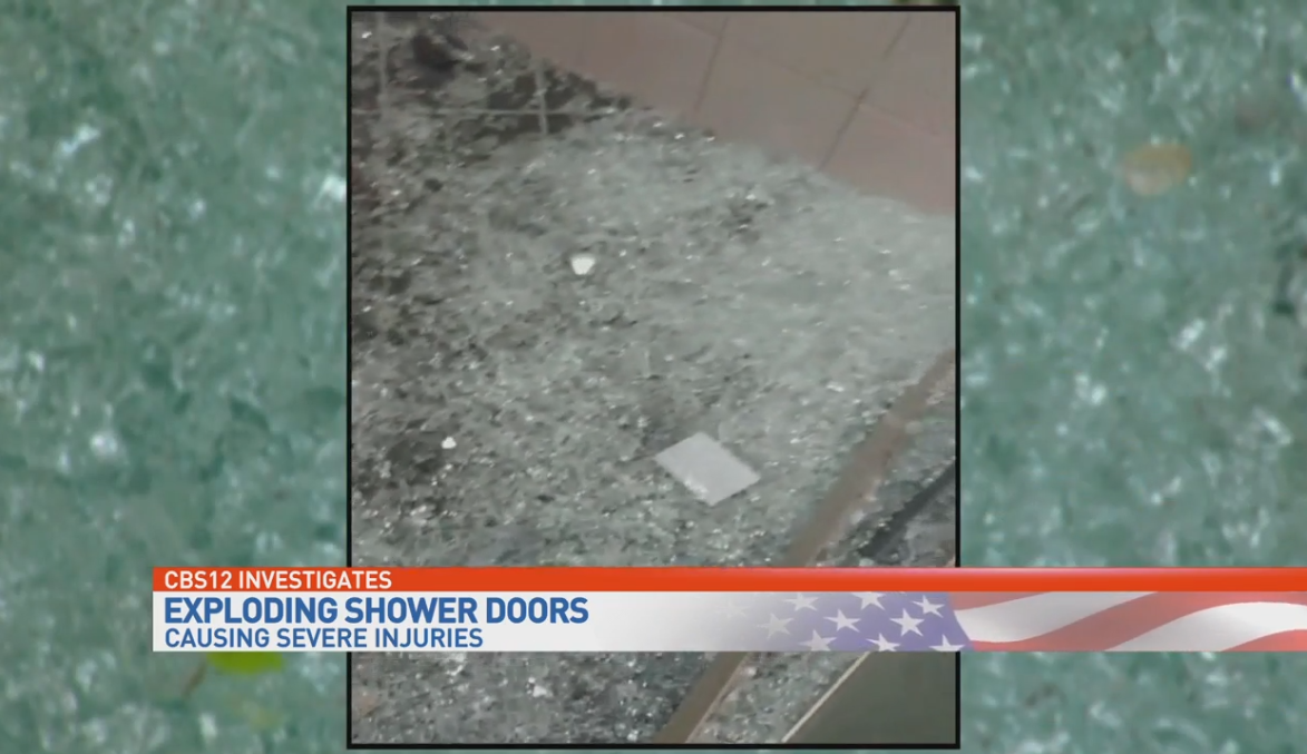 Exploding glass shower doors. (WPEC)<p></p>