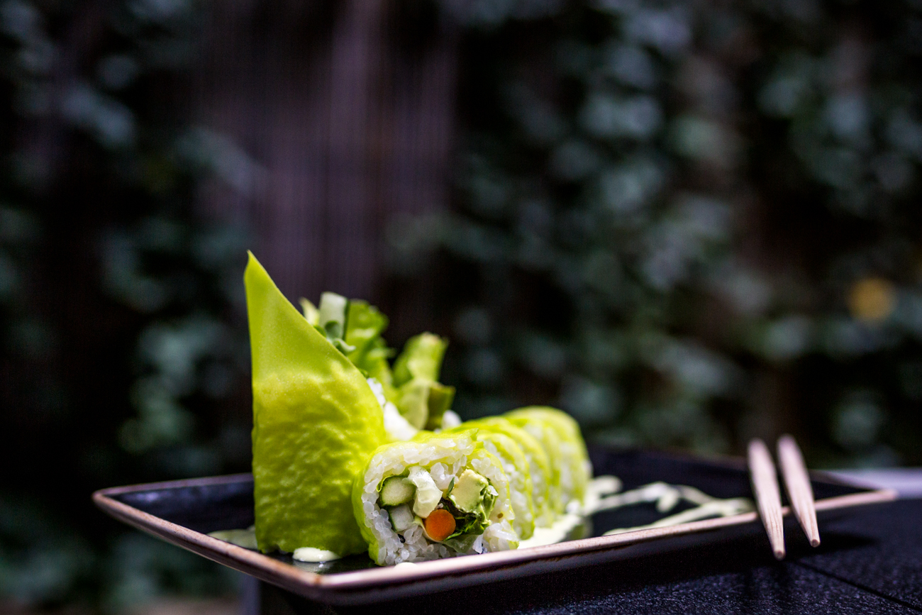 Green Roll (8 piece): soy paper, avocado, bibb lettuce, roasted asparagus, cucumber, radish sprout, Gobo root, and wasabi aioli / Image: Catherine Viox{ }// Published: 9.9.19