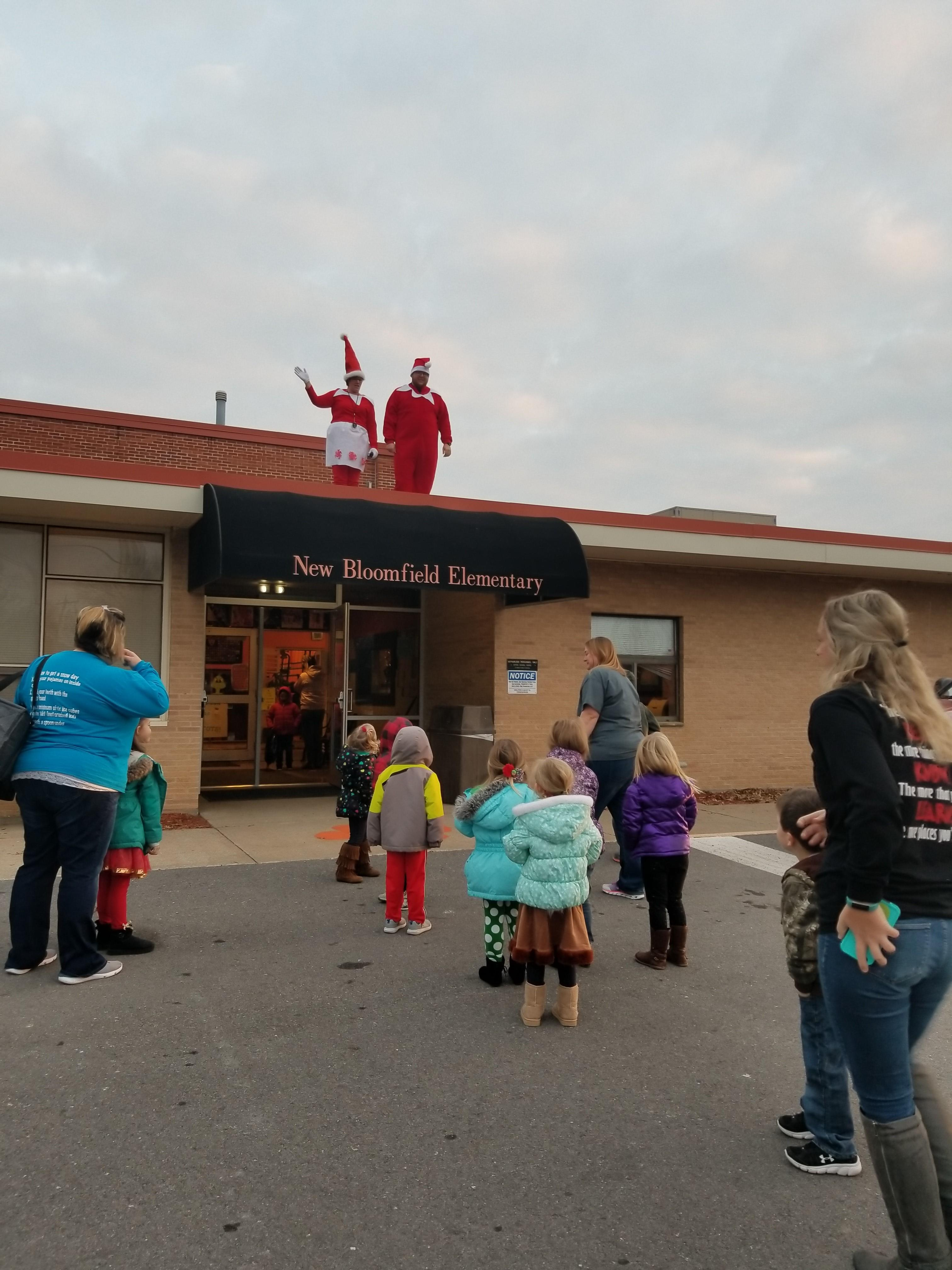 Students were greeted with holiday cheer by the staff of New Bloomfield Elementary Friday. (Photo courtesy of Julie Gerloff)<p></p>