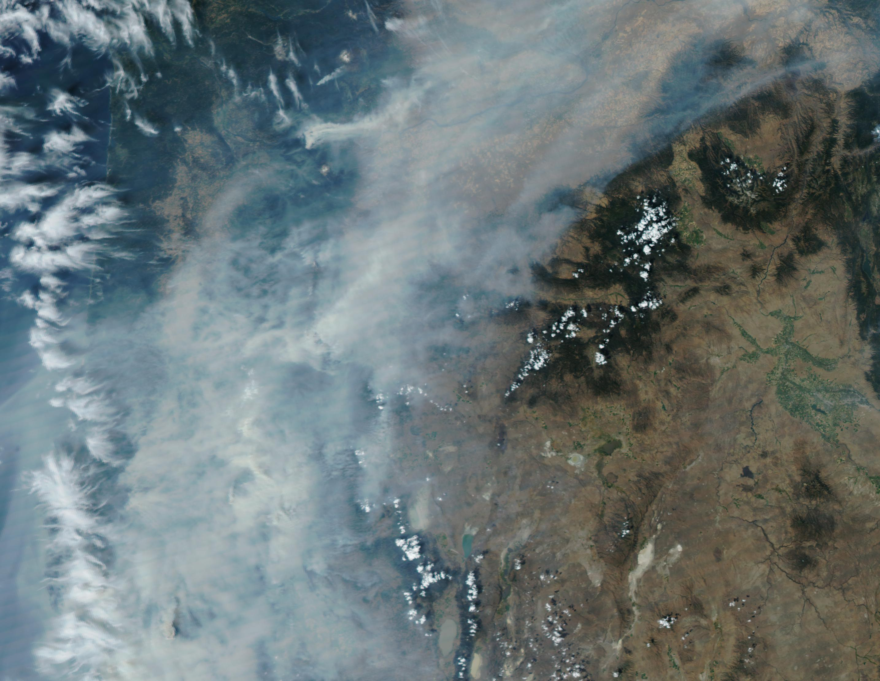 NASA satellite image shows Oregon on September 3, 2017. Air quality in Western Oregon ranges into the Unhealthy and even Hazardous categories over the Labor Day weekend thanks to smoke from forest fires.