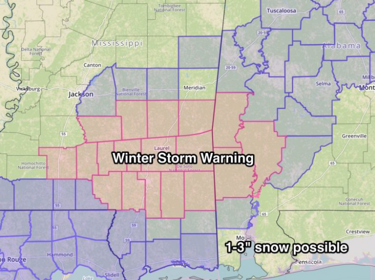 "A Winter Storm Warning has been issued for parts of Southwest Alabama and Southeast Mississippi: 1-3"" possible in the warning area<p></p>"