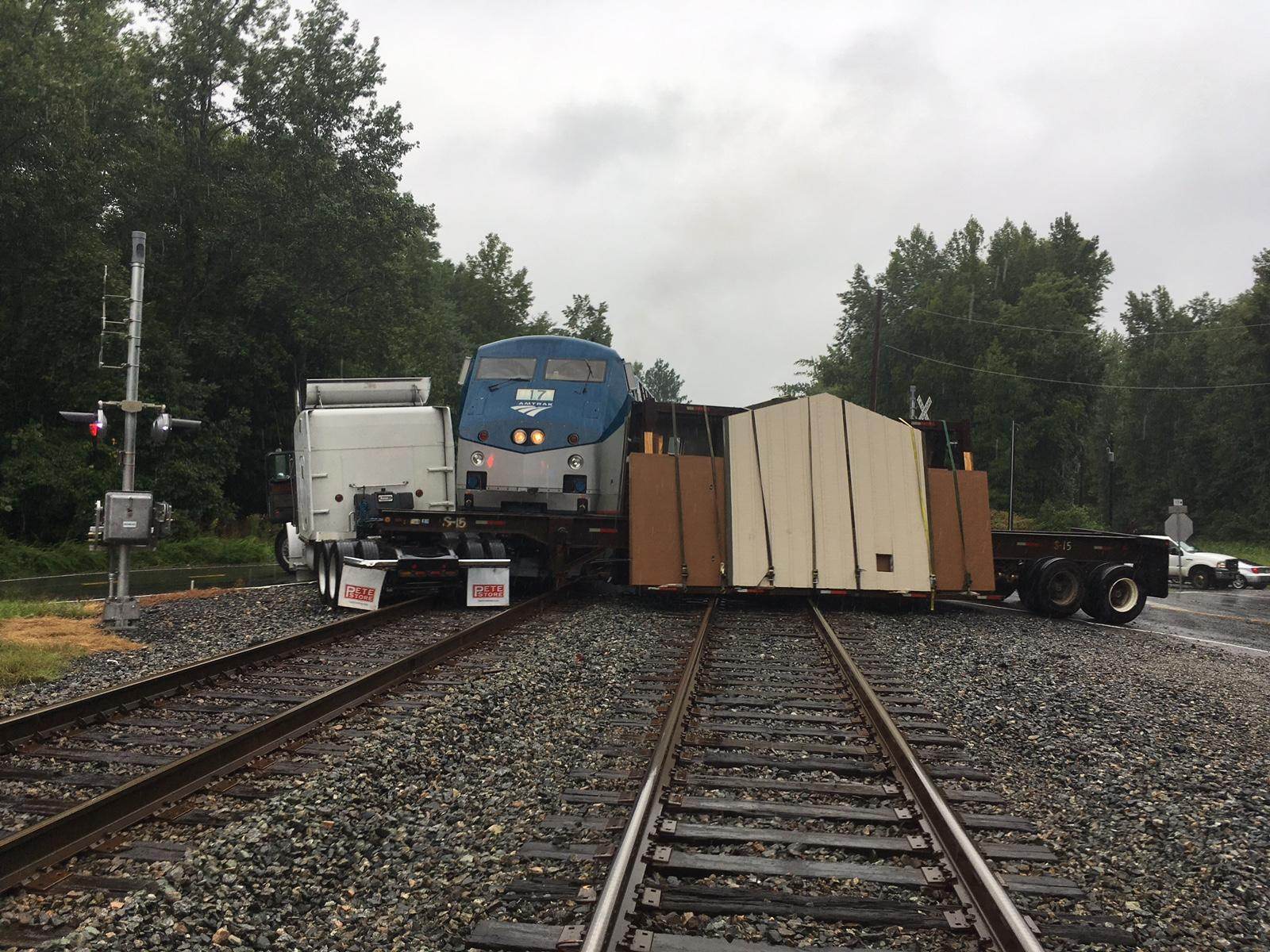 Amtrak train collides with tractor trailer in Va., suspending service (Stafford County Fire and Rescue)