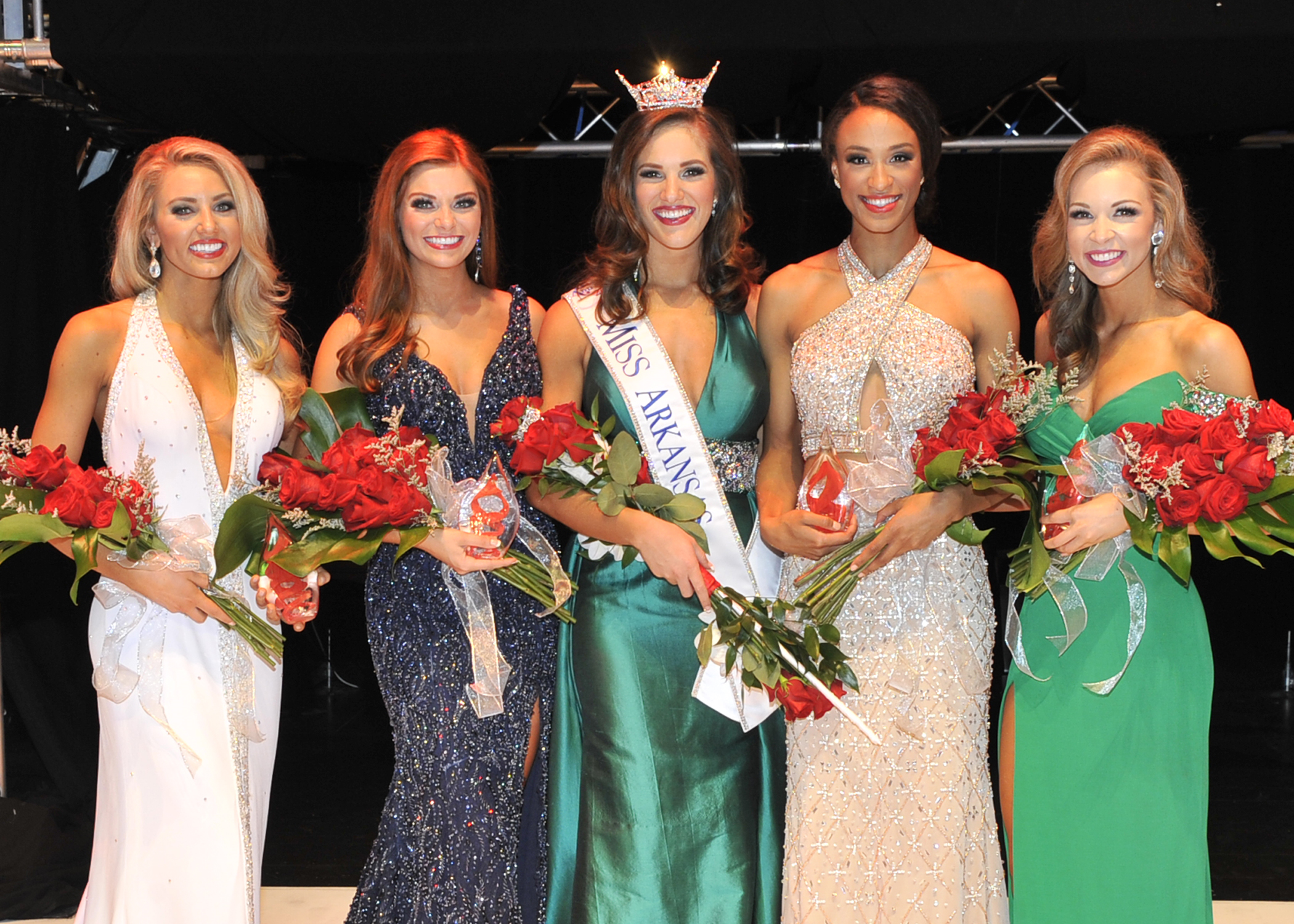 From Left to Right, third runner-up: Bailey Moses, first runner-up: Darynne Dahlem, Miss Arkansas 2017: Maggie Benton, second runner-up: Ashley Ehrhart, fourth runner-up: Claudia Raffo (Photo: Danny Barger Photography)