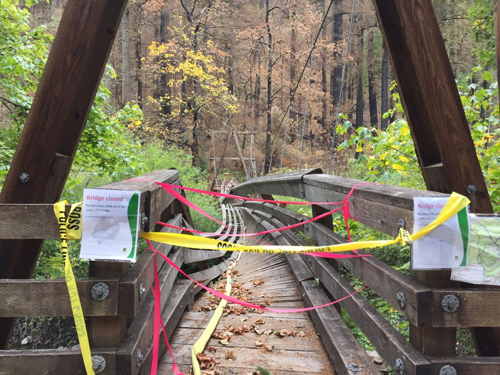 A bridge damaged from the Eagle Creek fire. (SBG photo)