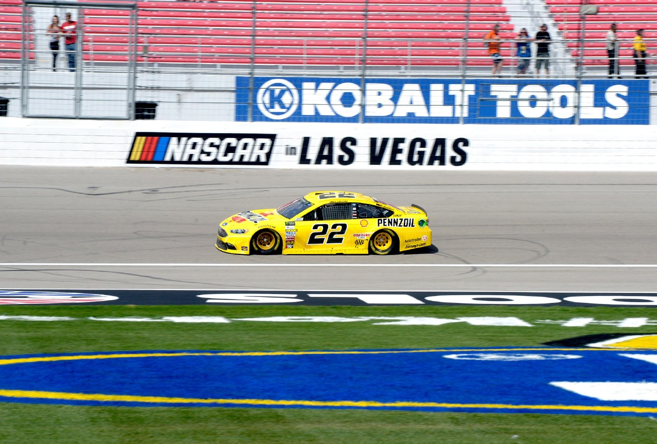 #22 Joey Logano on the track during NASCAR Stratosphere Pole Day at Las Vegas Motor Speedway. Friday, March 10, 2017. (Glenn Pinkerton/Las Vegas News Bureau)