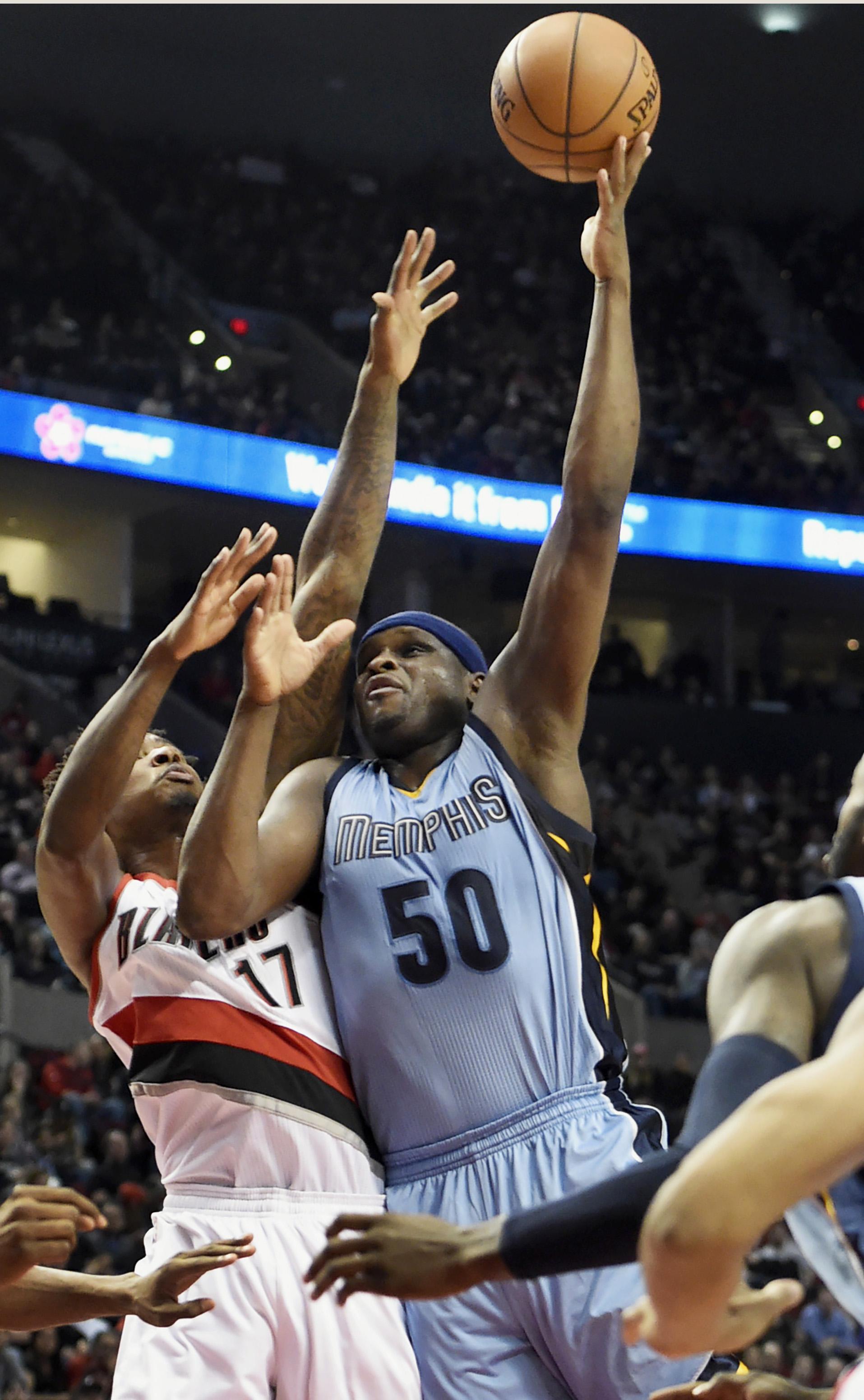 Zach randolph memphis grizzlies - Memphis Grizzlies Forward Zach Randolph 50 Shoots The Ball On Portland Trail Blazers Center