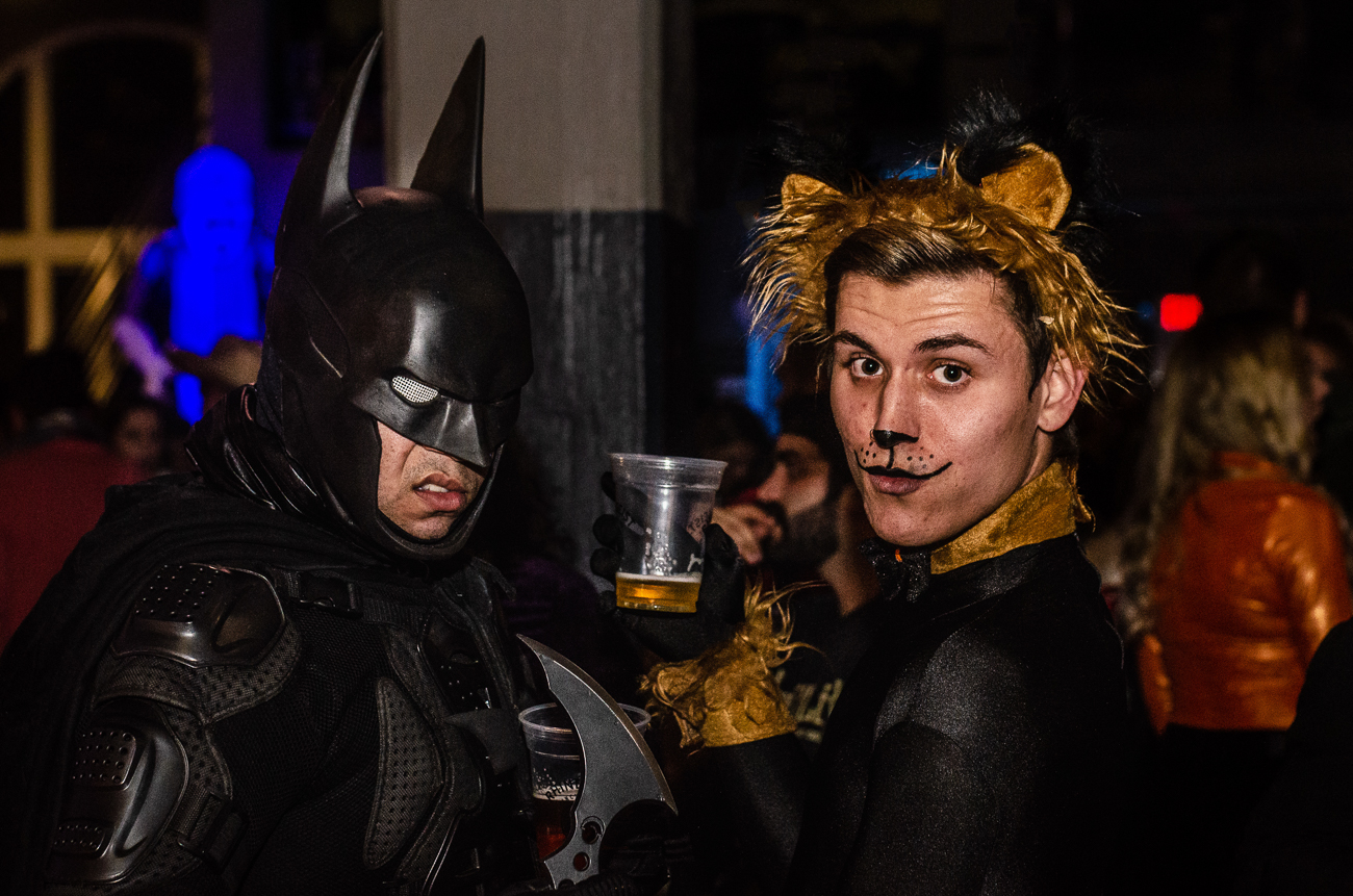 Zian Burns as Batman and Joshua Brunk as the not-so-cowardly lion at Rhinegeist's annual Halloween party / Image: Kellie Coleman // Published: 11.1.19