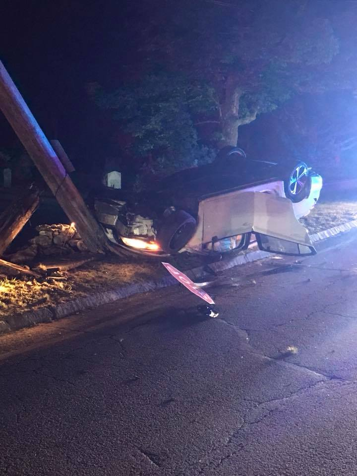 The Rehoboth Fire Department released images of a car that rolled over and struck a pole on Tremont Street, early Friday, June 1, 2018.