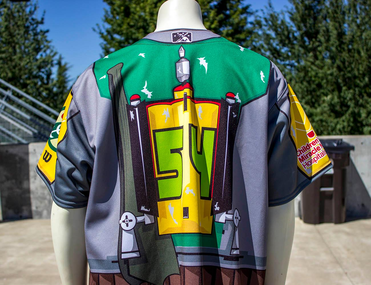 Eugene Emeralds graphic designer Danny Cowley says one of his favorite jerseys to make was for Star Wars night. He designed the jersey to look like Boba Fett's armor. The Eugene Emeralds will hold a Throwback Thursday and Teacher Appreciation Night August 18. Teachers can get free box seats. (Photo by Amanda Butt)