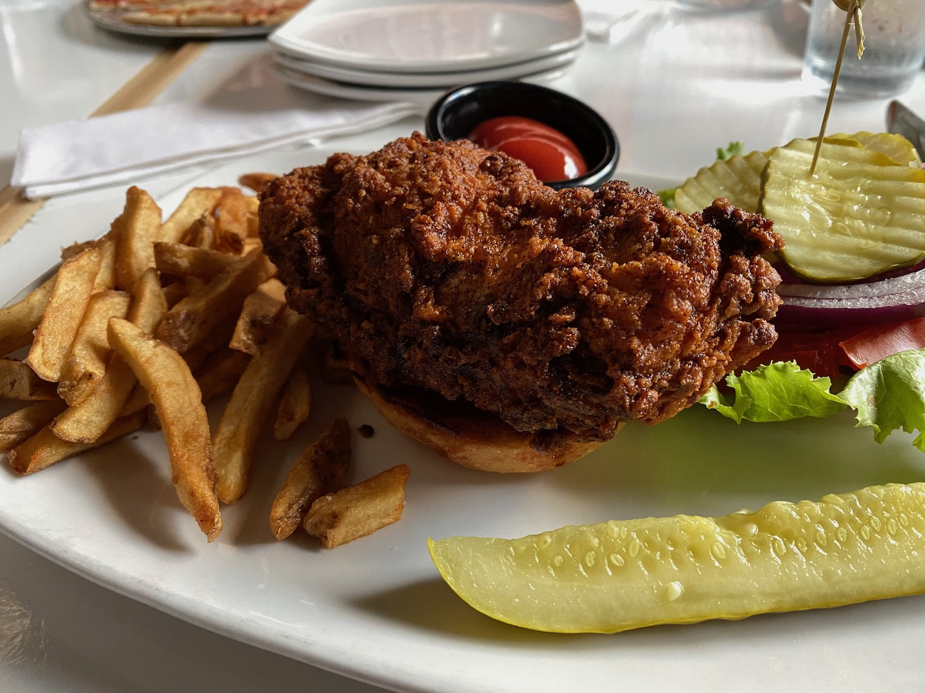 A delicious hot chicken sandwich at Jackie O's Brewery / Image: Chez Chesak{ }// Published: 10.27.20