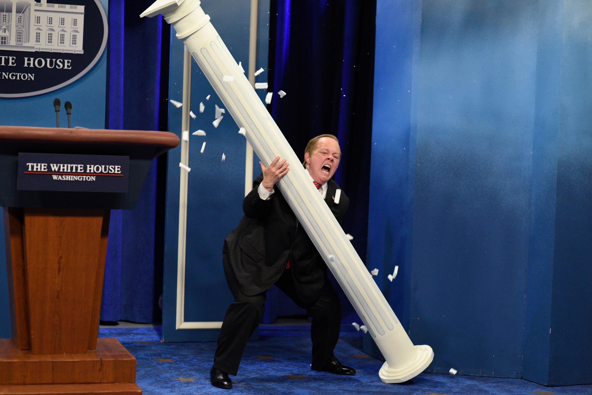 "In this photo provided by NBC, Melissa McCarthy as White House Press Secretary Sean Spicer, performs during ""Spicer Returns"" on the television show ""Saturday Night Live,"" Saturday, May 13, 2017, in New York. McCarthy once again brought comic spice plus Spicer to ""Saturday Night Live."" (Will Heath/NBC via AP)"