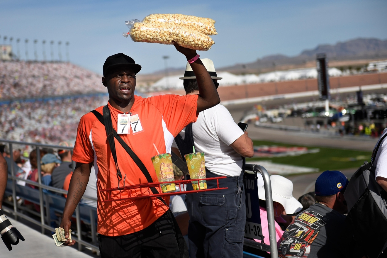 A vendor hawks popcorn and lemonade during the NASCAR Xfinity Series Boyd Gaming 300 Saturday, March 11, 2017, at the Las Vegas Motor Speedway. (Sam Morris/Las Vegas News Bureau)