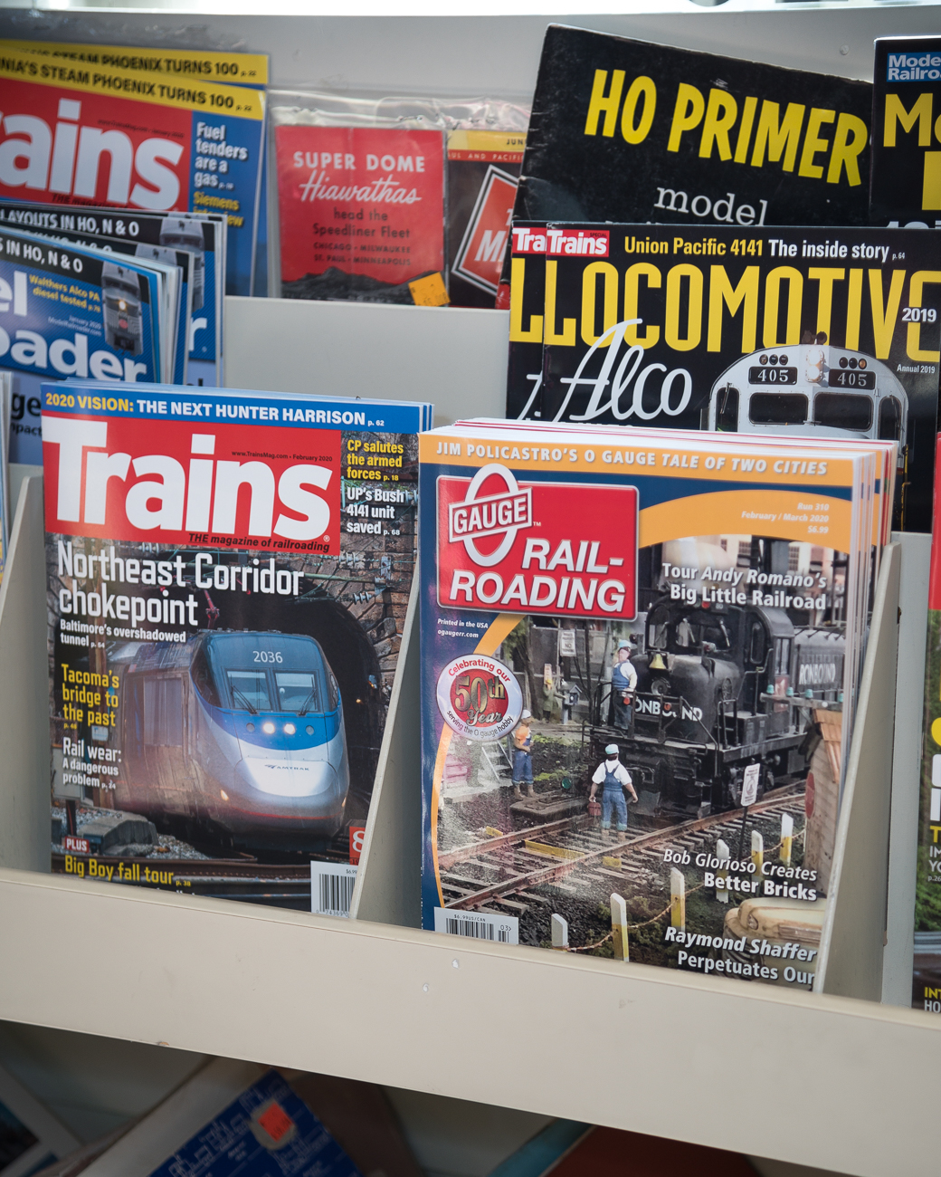 There are several hobby train-related magazines in stands in the front of the store. / Image: Phil Armstrong, Cincinnati Refined // Published: 2.27.20