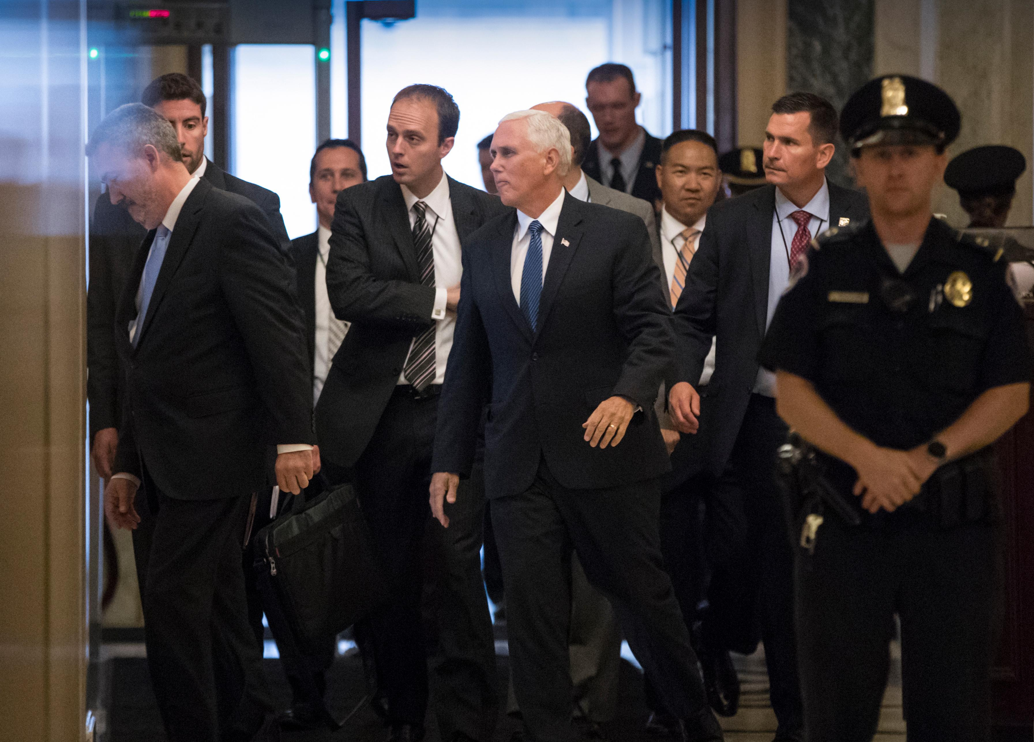Vice President Mike Pence arrives on Capitol Hill in Washington, Thursday, July 13, 2017, to meet with lawmakers on the Republican health care bill which is under attack from within the party. (AP Photo/J. Scott Applewhite)