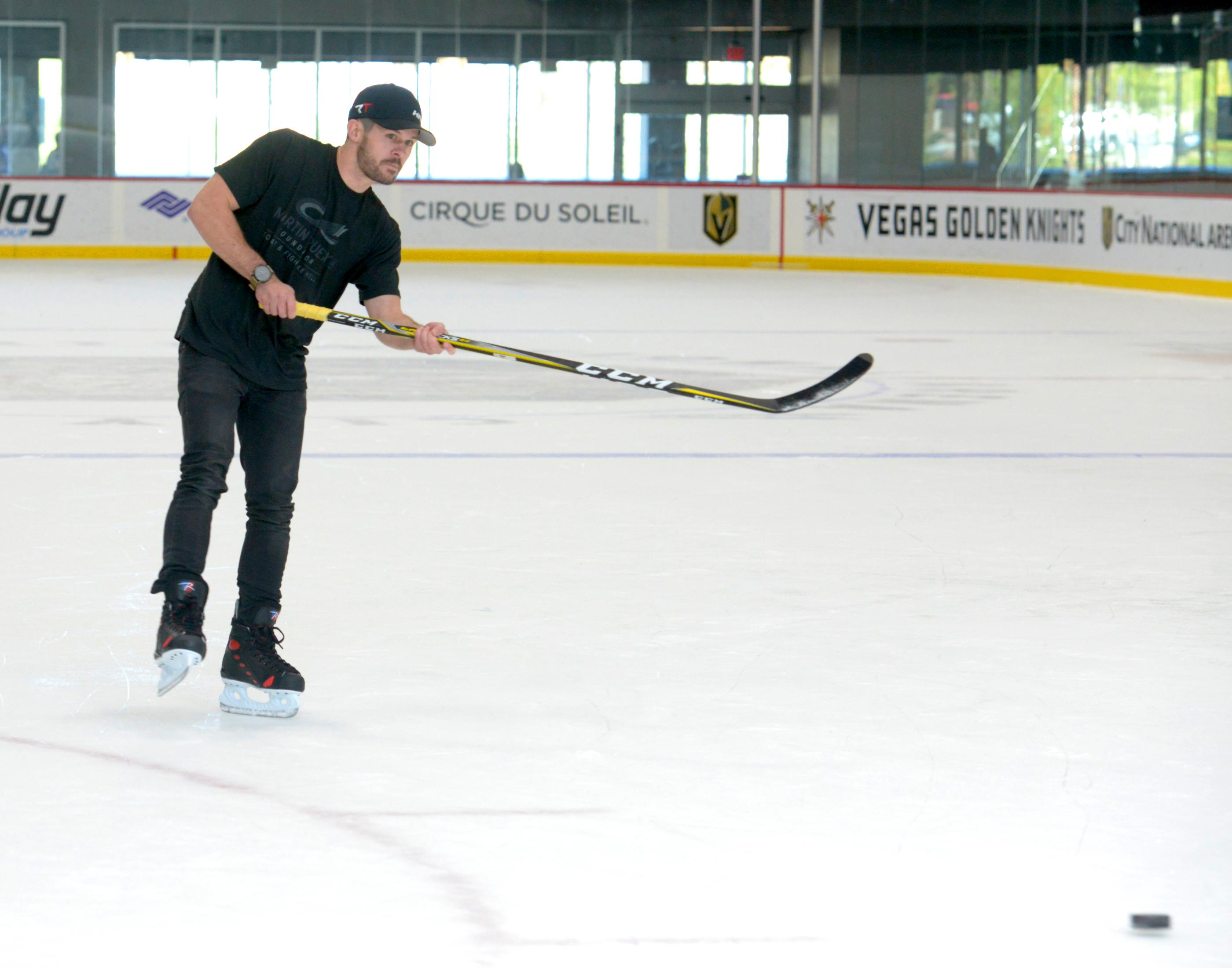 Ryan Truex NASCAR Camping World Truck Series (NCWTS) driver is interviewed during  a hockey skills clinic at City National Arena. Friday, September 29, 2017. CREDIT: Glenn Pinkerton/Las Vegas News Bureau