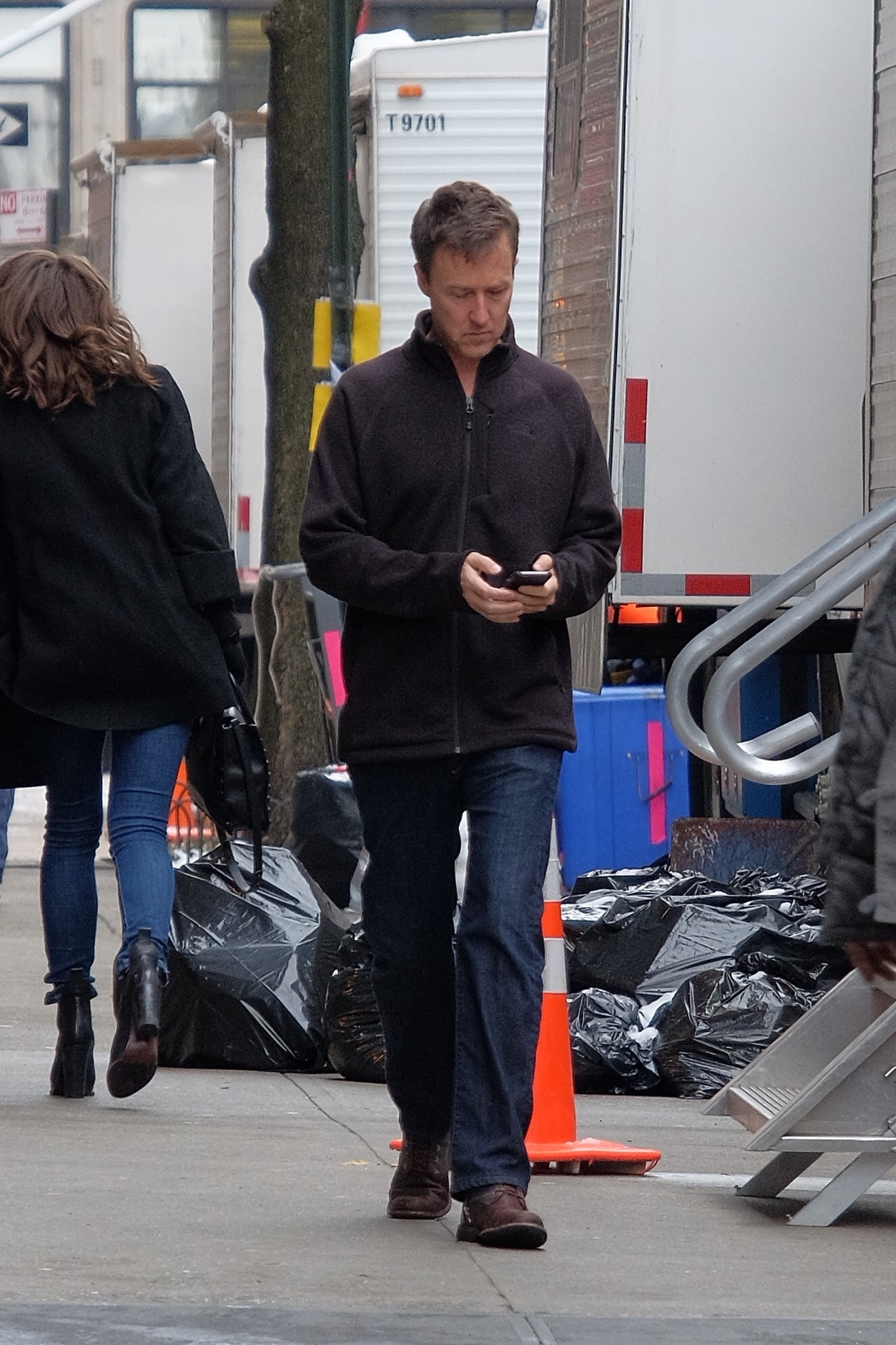 Stars on the set of 'Collateral Beauty,' filming in Manhattan  Featuring: Edward Norton Where: Manhattan, New York, United States When: 04 Mar 2016 Credit: TNYF/WENN.com