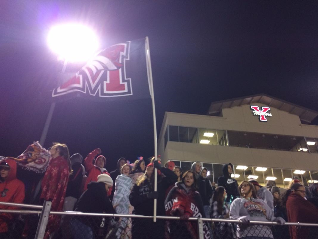 Mustang High School fans at the Norman North game that was played at Yukon High School stadium on Friday, Nov. 18, 2016 (Anthony West / KOKH)