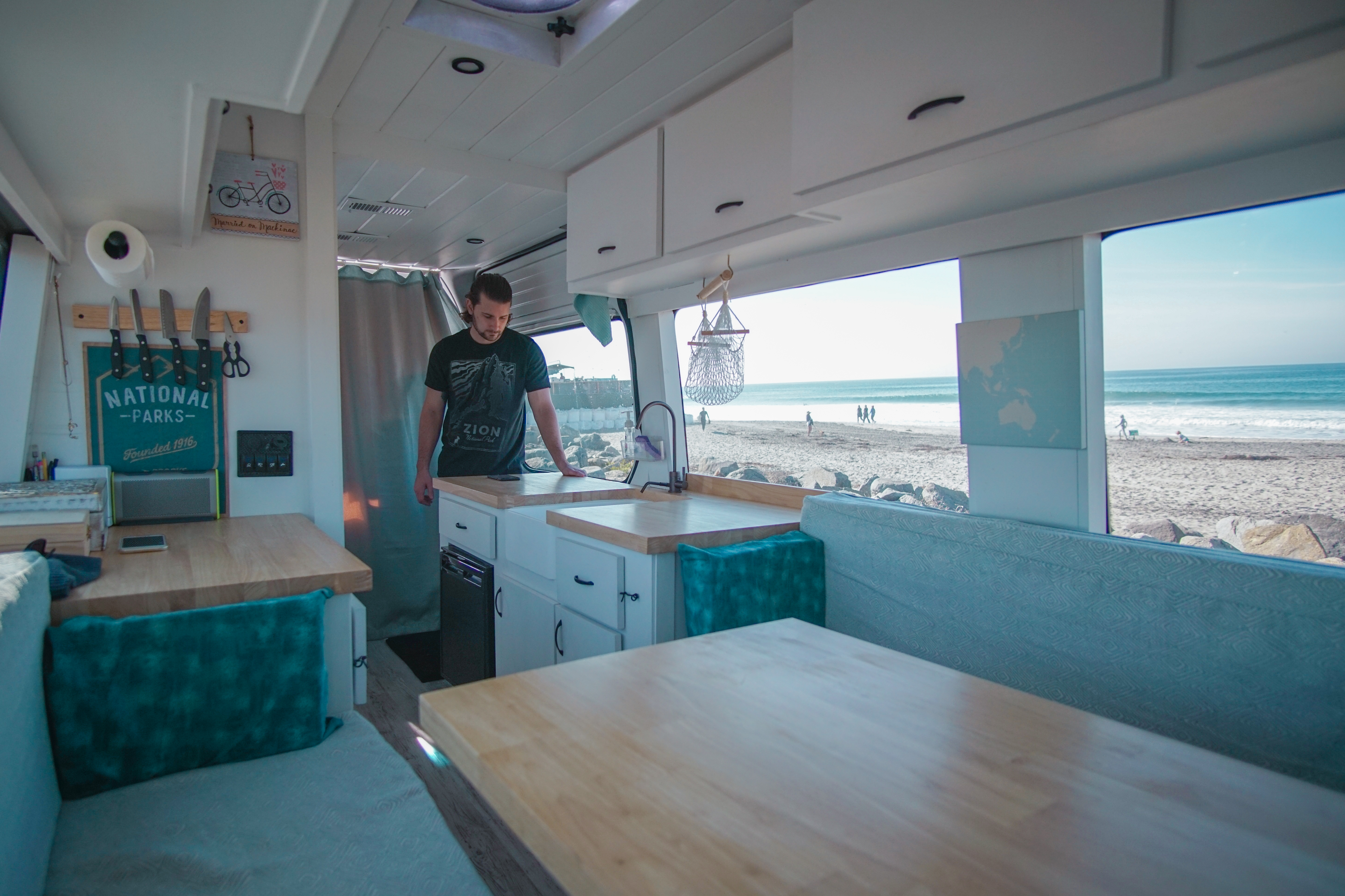 "Alex and Sara James, who formally lived in the Coeur d'Alene, ditched their 9 to 5 jobs and converted a van into their dream home on wheels with about $12,000. It took about three months working on it full time. The couple now travels across the country and share their adventures on their ""40 Hours of Freedom"" website and blog. (Photo courtesy 40HoursofFreedom.com + Facebook)."