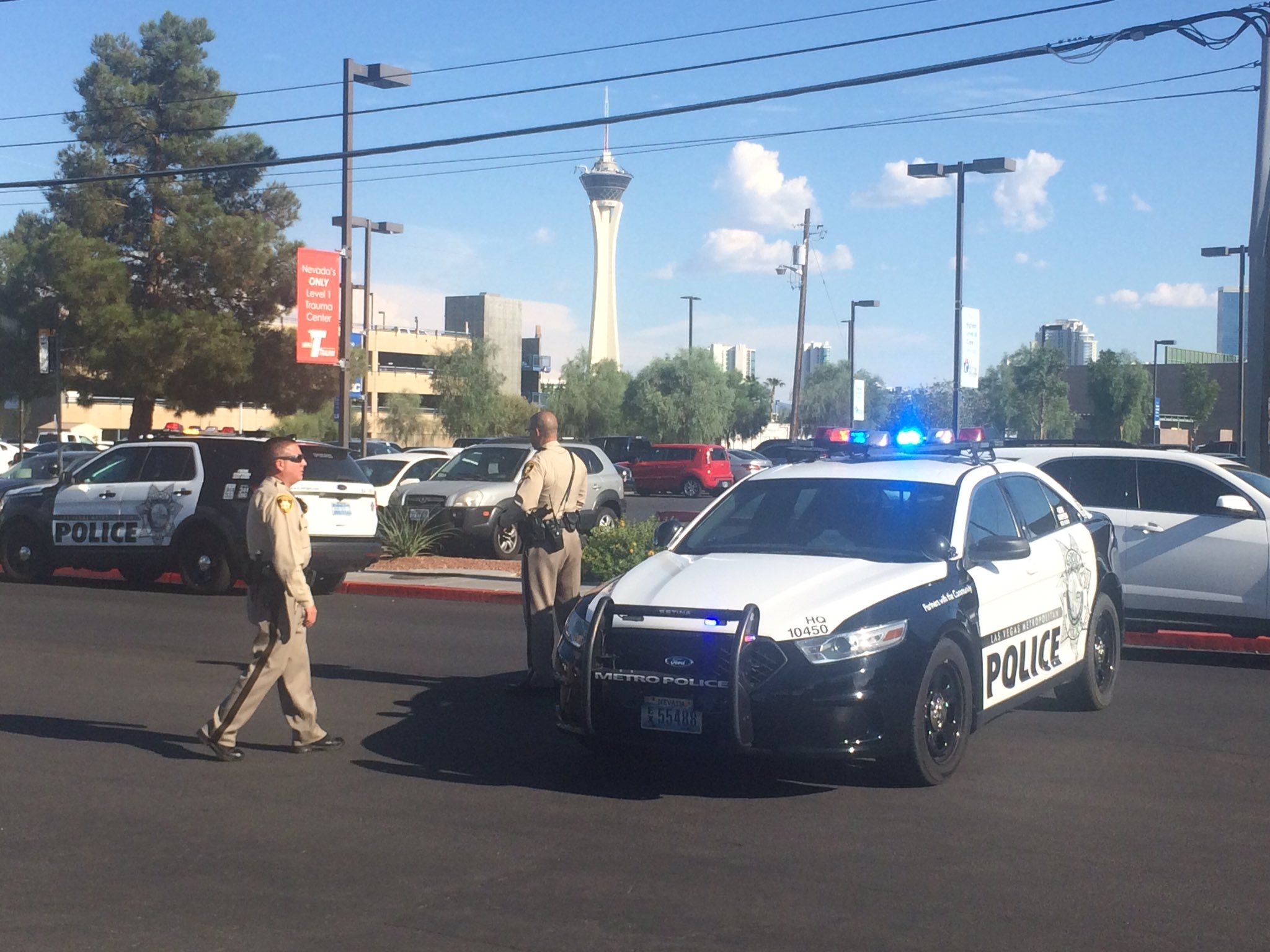 An LVMPD officer has been injured in a shooting near Tropicana and Arville. (Antonio Castelan | KSNV)