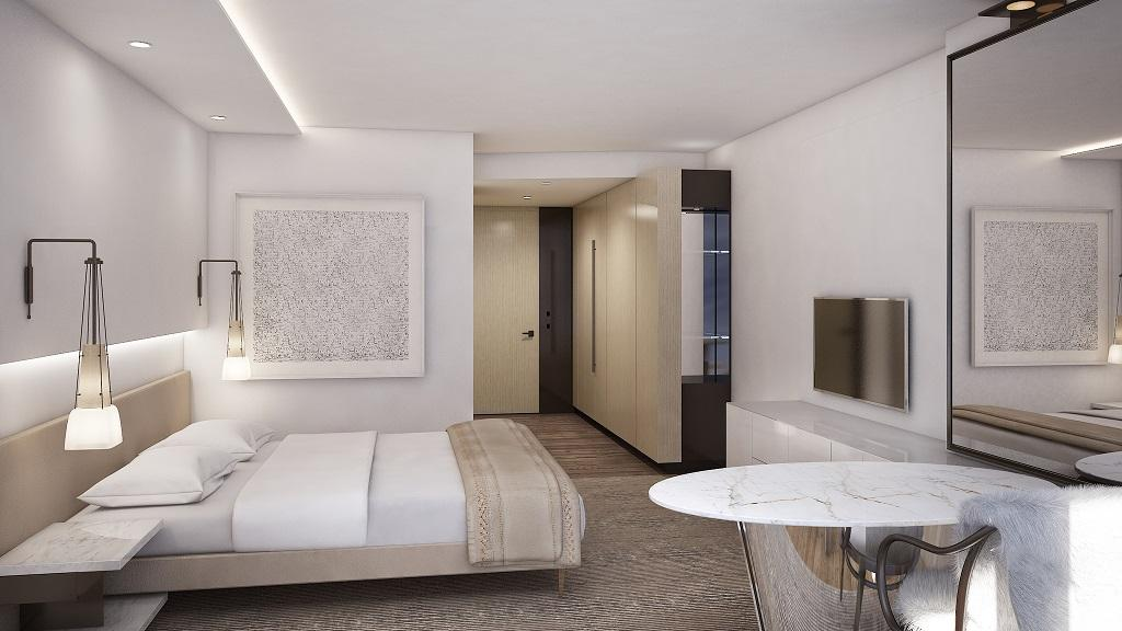 King guest rooms at Conrad CCDC will look something like the rendering seen here. (Image: Courtesy of Conrad)
