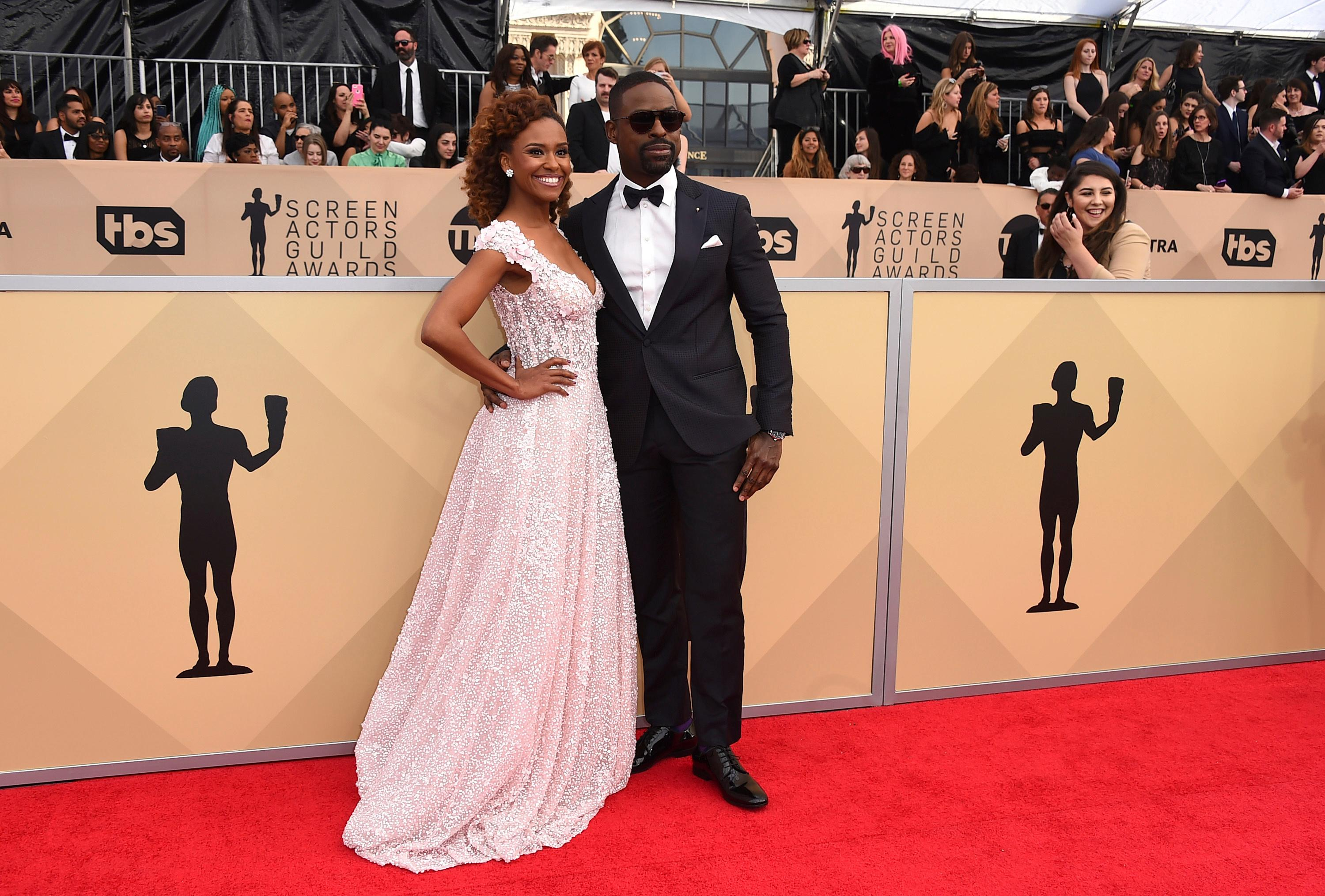 Ryan Michelle Bathe, left, and Sterling K. Brown arrive at the 24th annual Screen Actors Guild Awards at the Shrine Auditorium & Expo Hall on Sunday, Jan. 21, 2018, in Los Angeles. (Photo by Jordan Strauss/Invision/AP)