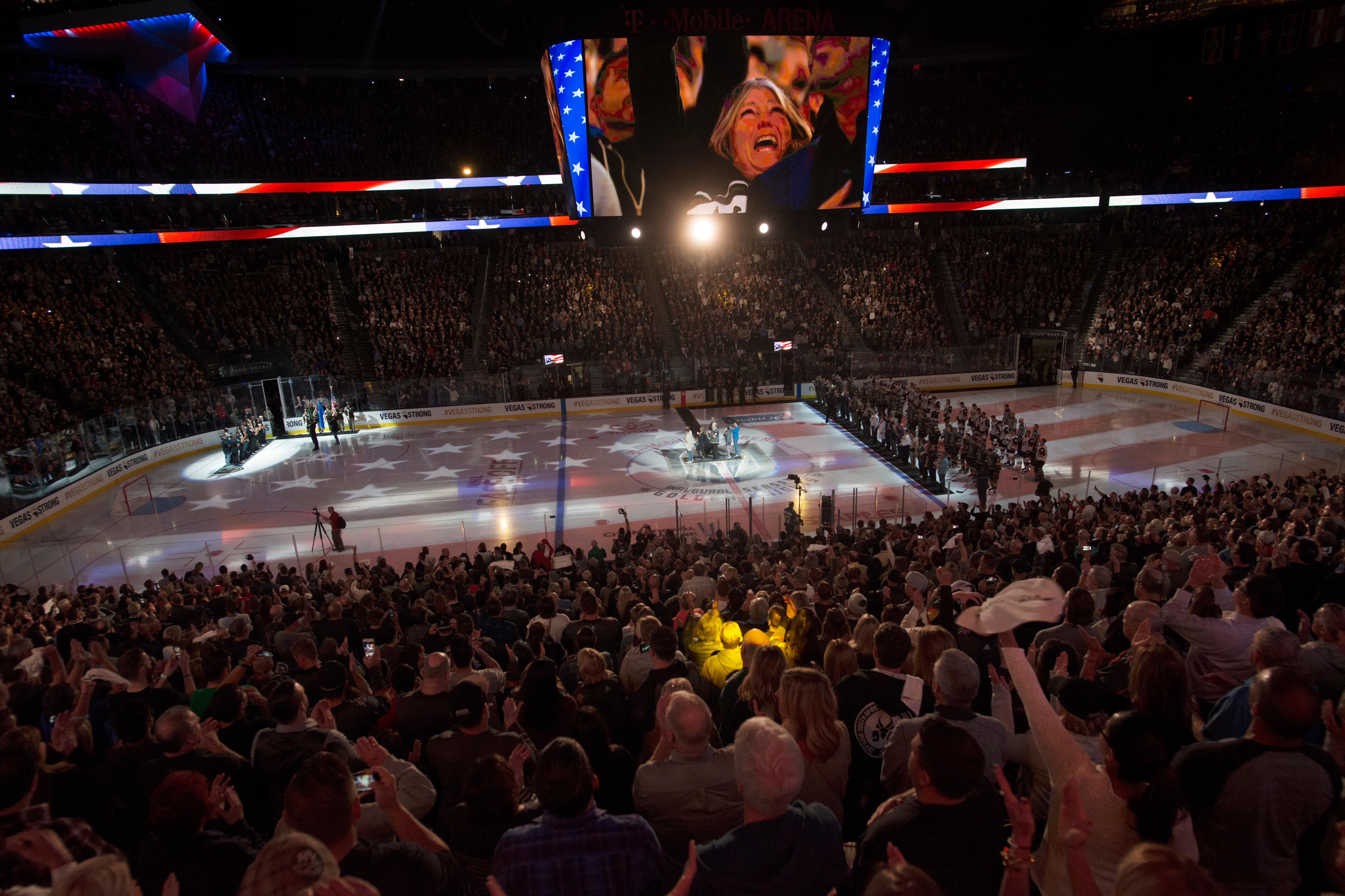 The national anthem is sung before the Vegas Golden Knights home opener against the Arizona Coyotes Tuesday, Oct. 10, 2017, at the T-Mobile Arena. The Knights won 5-2 to extend their winning streak to 3-0. CREDIT: Sam Morris/Las Vegas News Bureau