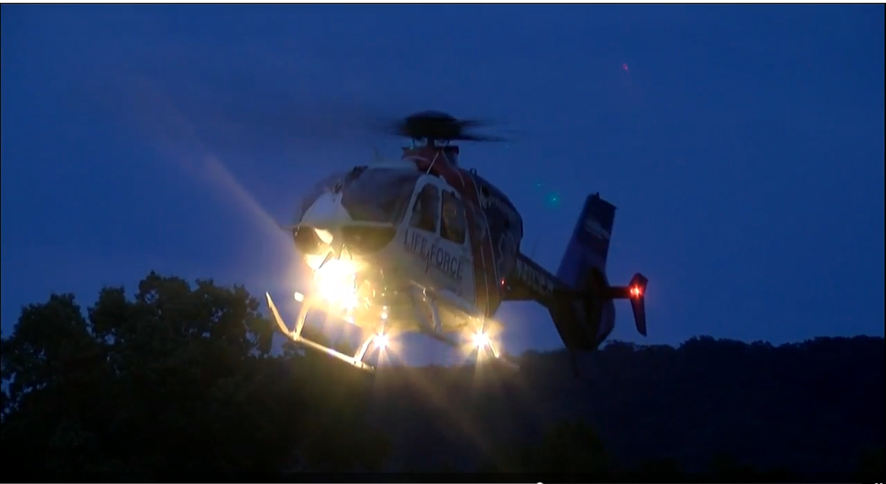 A LifeForce helicopter flew the people in the Yukon to the hospital. (Image: WTVC)