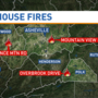 Three homes damaged by separate fires overnight Sunday