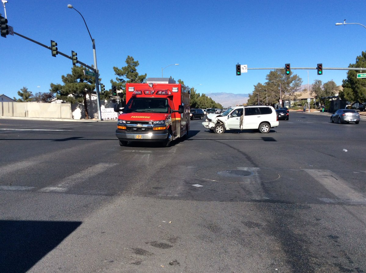 A white SUV sustained major front-end damage when it struck an RTC bus near Rainbow &amp;amp; Washington on Saturday, Dec. 9, 2017. (LVF&amp;amp;R photo)<p></p>