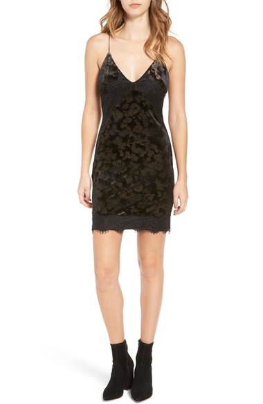 Upgrade the dress just a tiny bit, amp up your hair game and keep the tights and booties. By swapping in a sweet textured mini you've moved up a bit on the glam scale without sacrificing warmth. We love a velvet slip dress (with a jacket for party-hopping, naturally) or a lacy romper.(Image: Nordstrom)